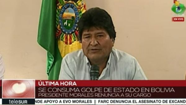 The coup in Bolivia is consummated. President Morales resigns his office.