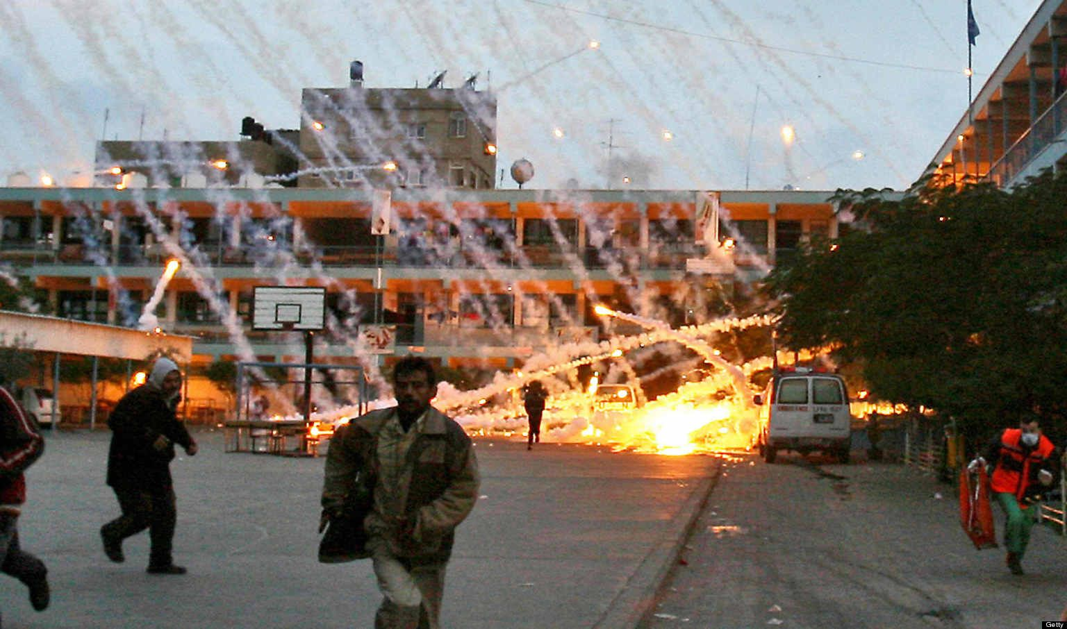 Israel hits Palestinian school with US supplied white-phosphorous munitions.