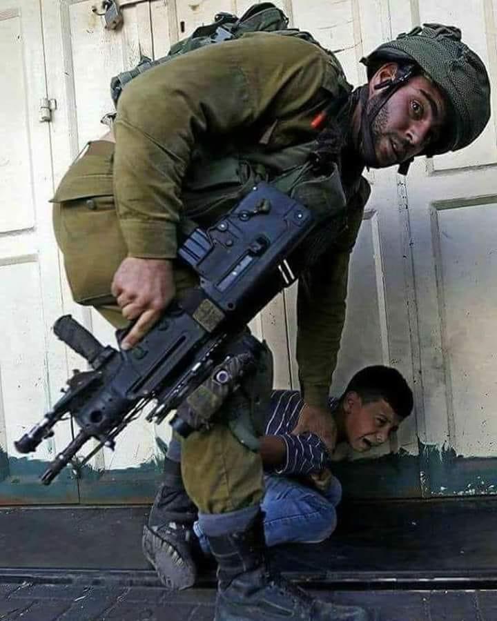 Israeli soldier detains Palestinian child.
