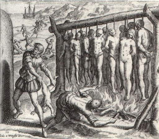 Spanish atrocities during the conquest of Cuba.