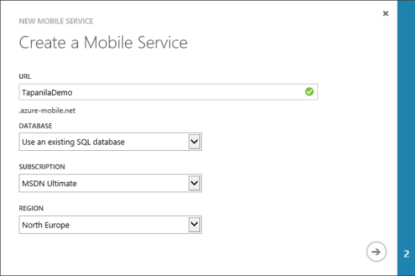 Create new Windows Azure Mobile Service using existing database