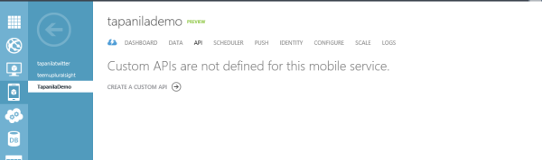 Alt Windows Azure Mobile Service API tab