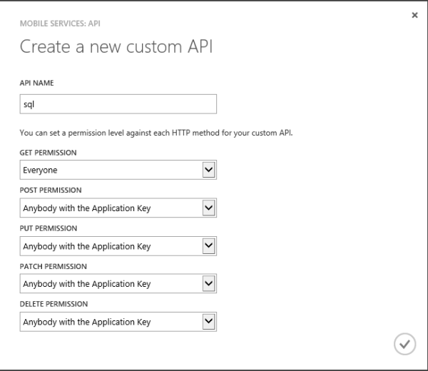 Alt Windows Azure Mobile Service new Custom API