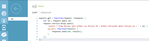 Alt Windows Azure Mobile Service API javascript