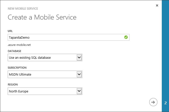 alt Create new azure mobile service