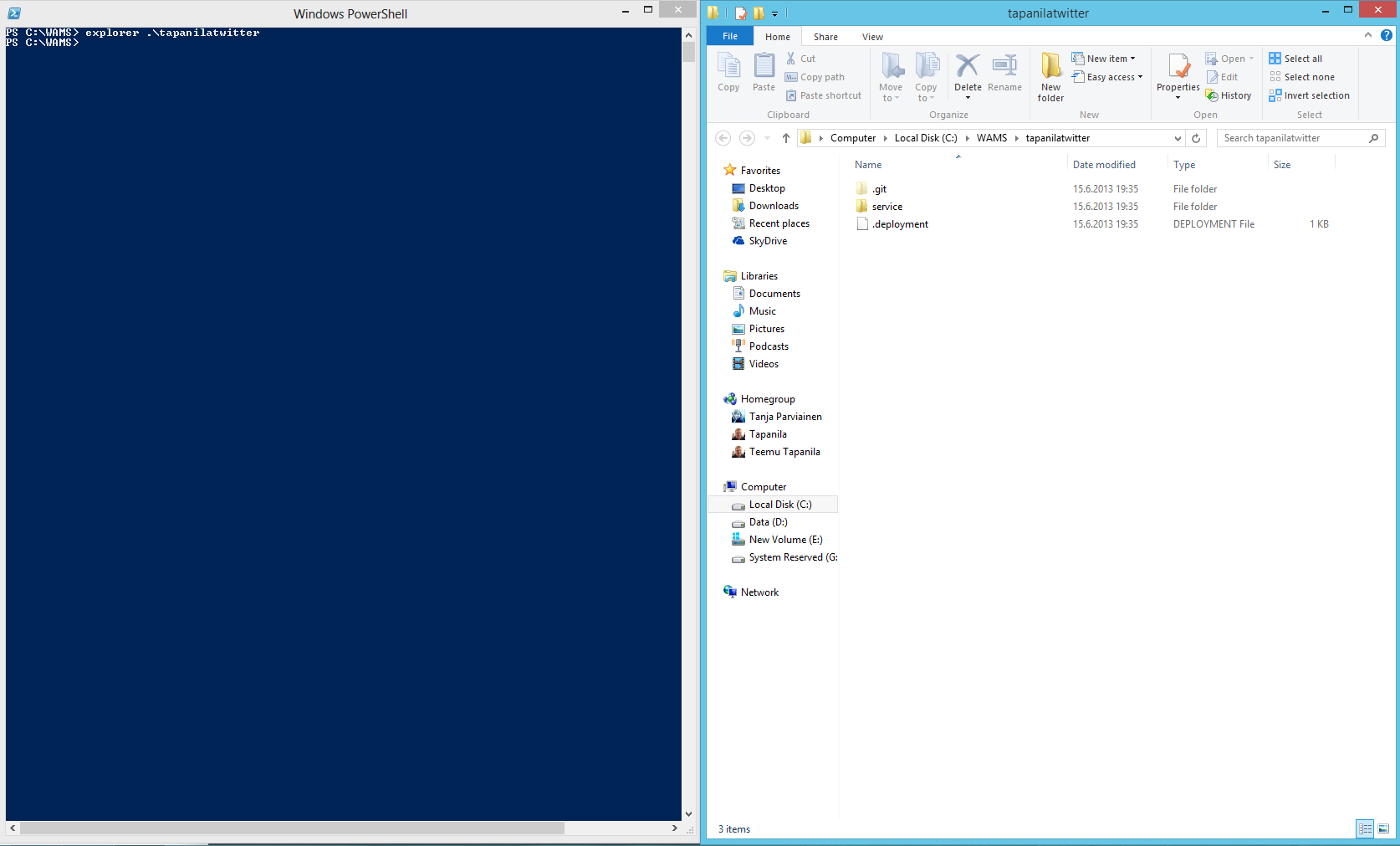Windows Explorer view