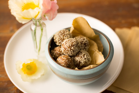 Cinnamon Tahini Coconut Bliss Balls