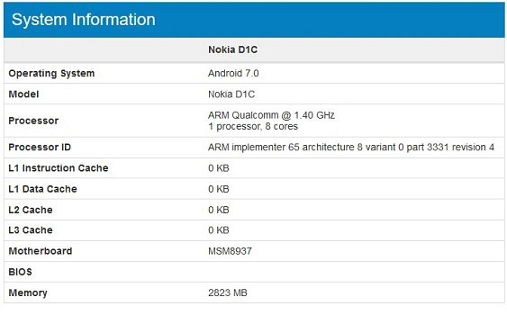 Nokia D1C Android Smartphone with 3G RAM, Nougat spotted on Geekbench, Revealing Specifications