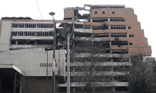 Belgrade building damaged