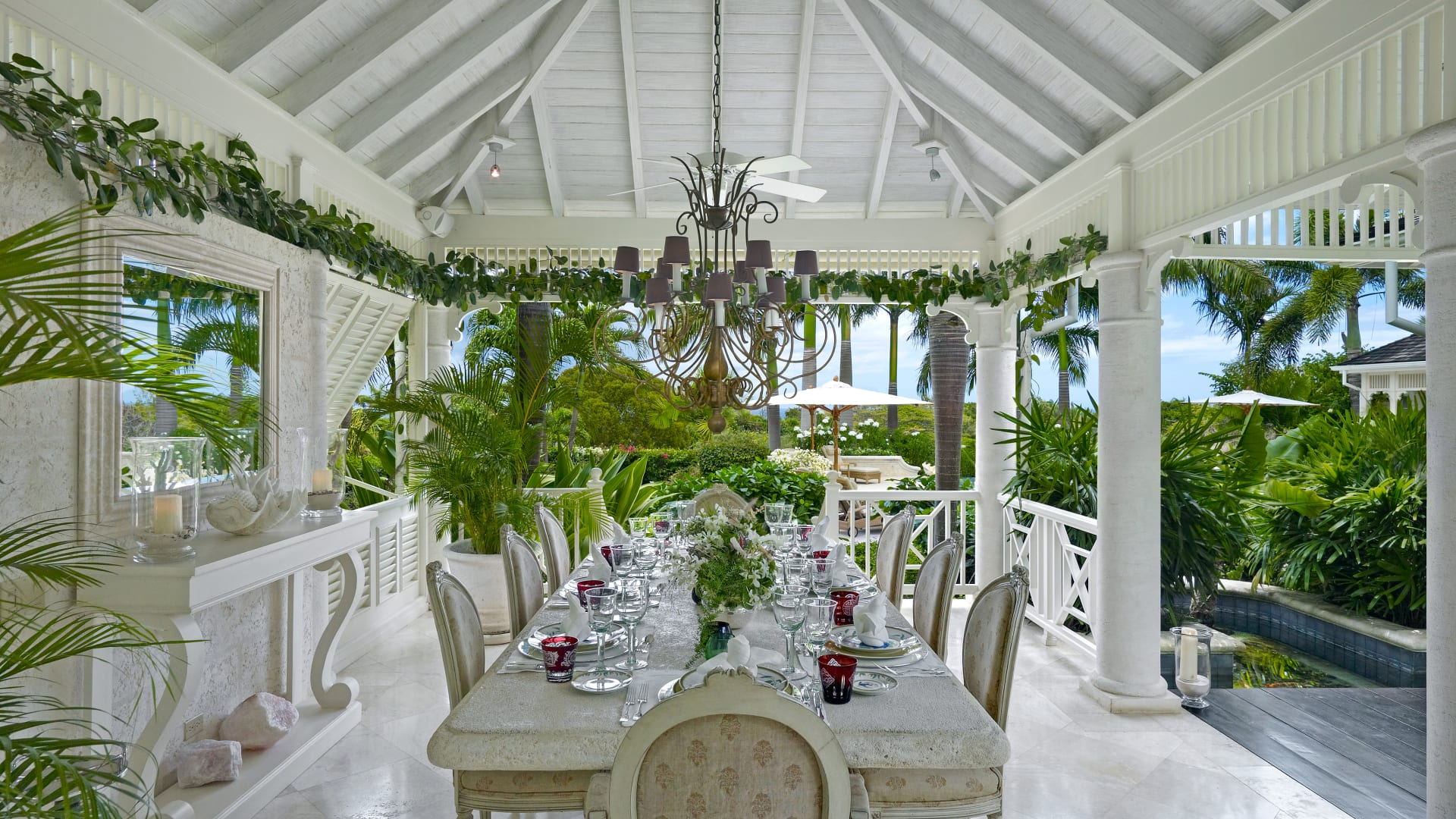 Dining room with coral stone table
