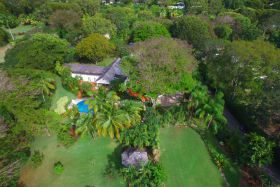 Aerial View of Property with Mature Gardens