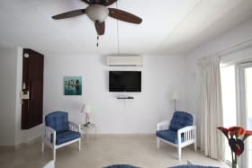 Spacious Living area with flat screen TV and AC