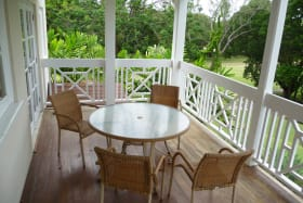Outdoor deck with golf course views