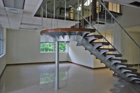 Stairway leading to mezzanine level