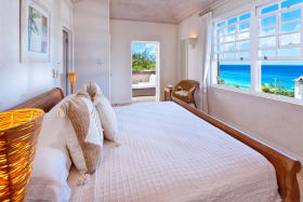 Master bedroom with great sea views and access to pool terrace