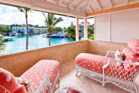 Balcony to guest bedroom on first floor with lagoon views