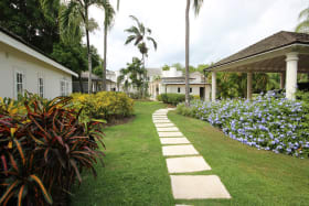 Garden path with 2 bed/2 bath cottage on left