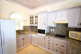 Granite countertops and ample cupboard space