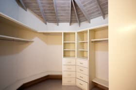 Walk-in closet in master bedroom
