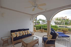 Comfortable seating on the Patio with views of the Marina