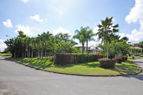 Attractive corner lot with mature landscaping and lots of lawn