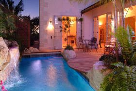 Private pool with cascading waterfall