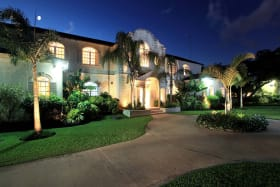 Front exterior at twilight
