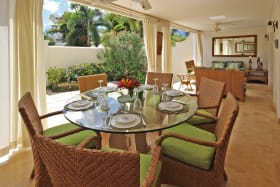 Outdoor dining by deck