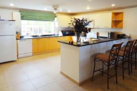 Spacious kitchen with granite countertops