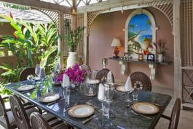 Beautiful dining room under indoor gazebo