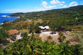 Aerial view of the lot with stunning views of the sea