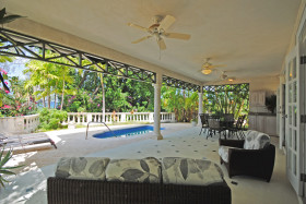 Covered patio with ocean view