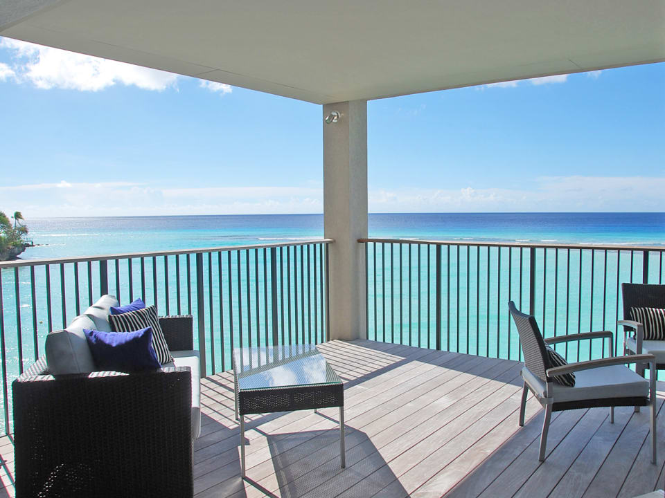 Spacious balcony onlooking sea