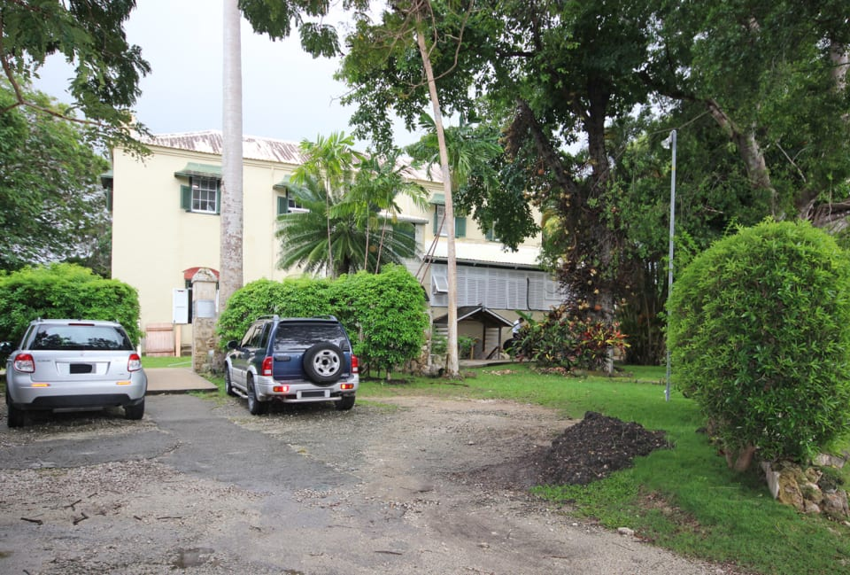 Building and driveway from entrance