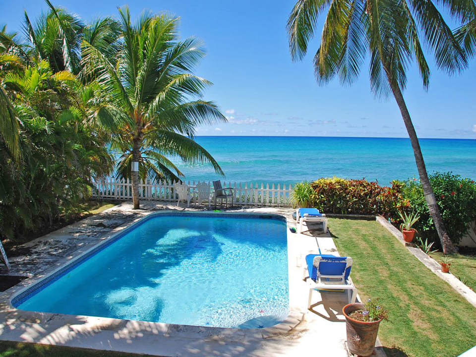 Sparkling oceanside pool and gardens