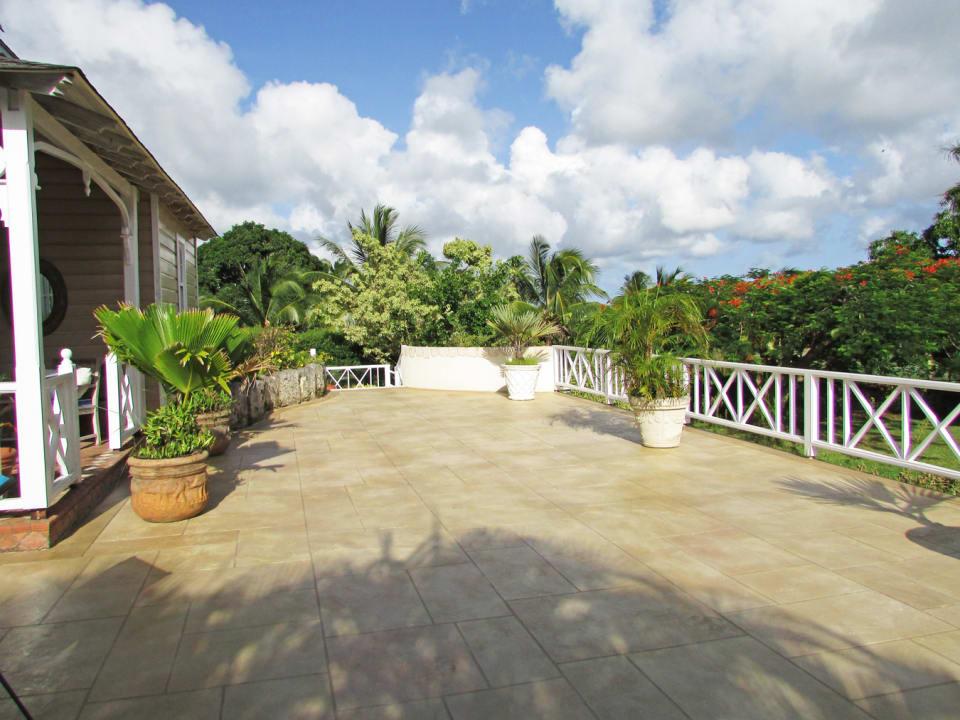 Spacious deck overlooking garden