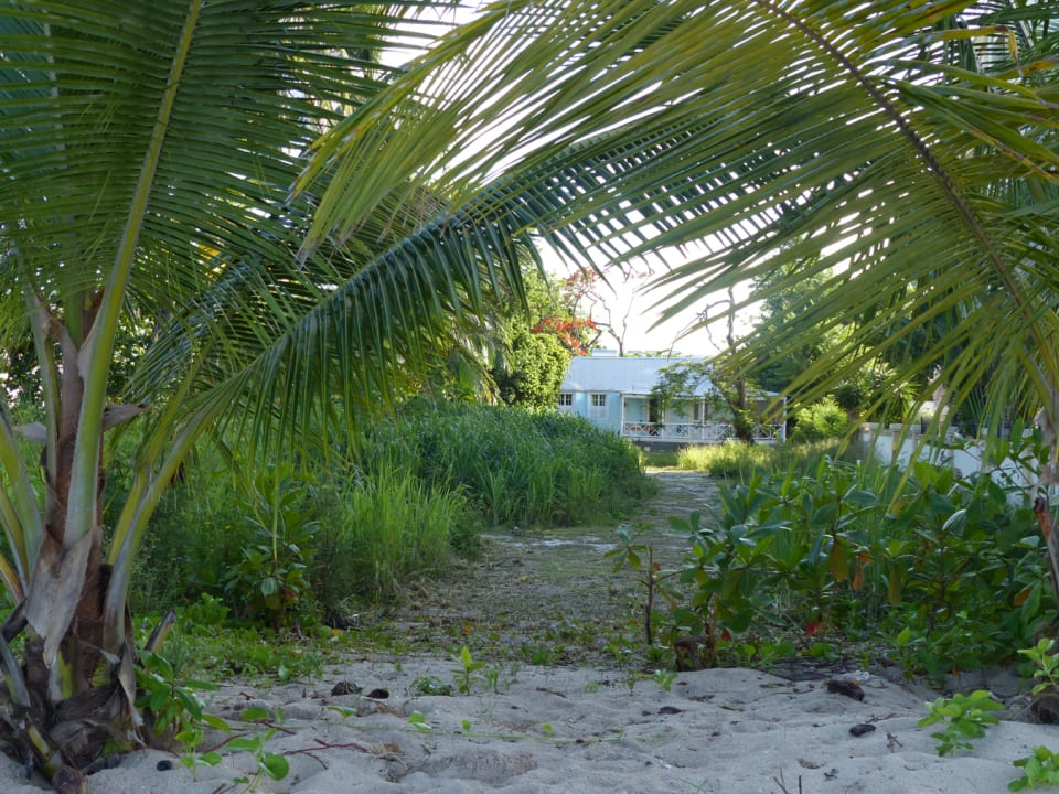 Walkway from the beach to the lot