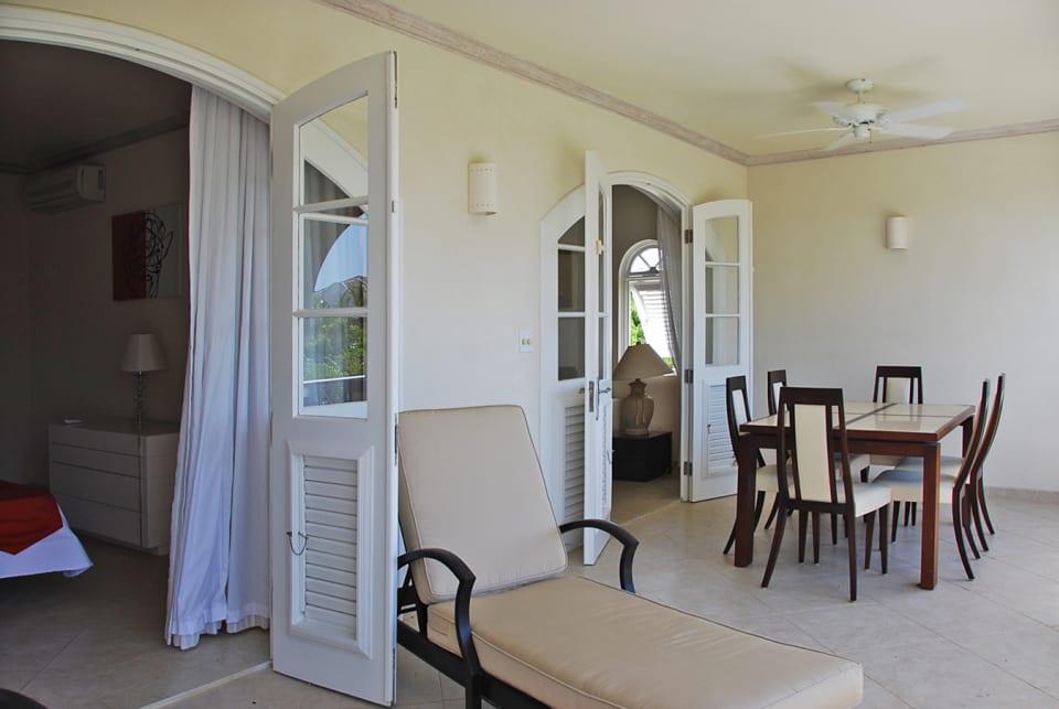 Patio with Master bedroom doors and living room doors