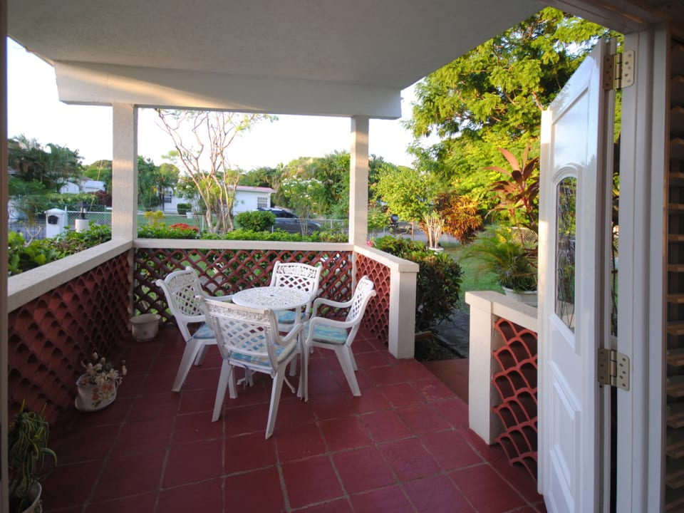 View from front door of the patio and garden