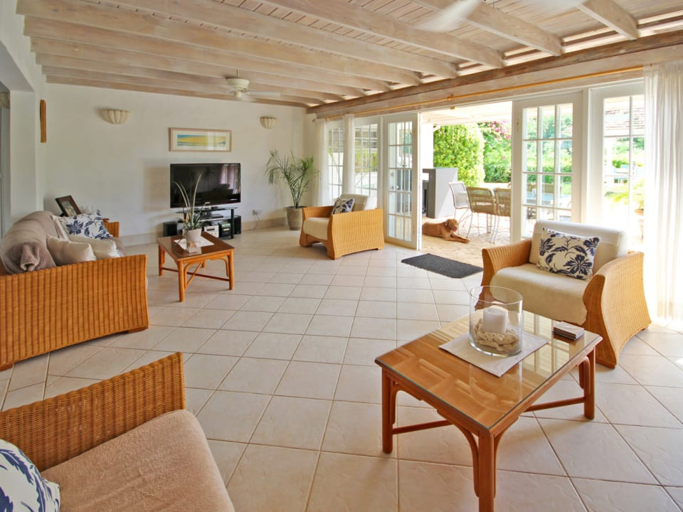 Living and entrance from pool deck and gazebo