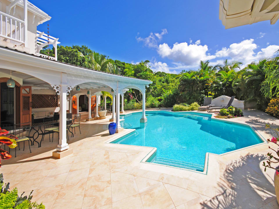 Uncovered terrace poolside