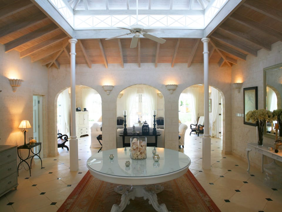Foyer leads to sitting room and pool terrace