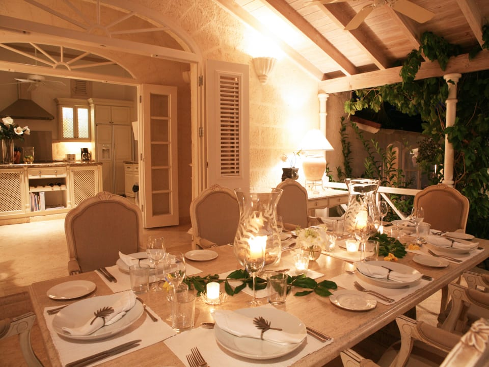 Beautiful dining terrace leading from the kitchen