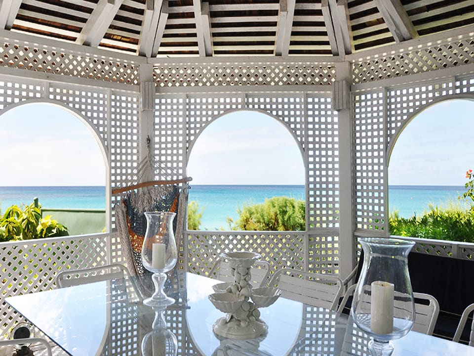 Dining gazebo with amazing view of the sea