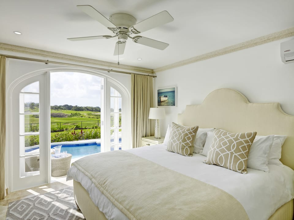 Bedroom opens onto the pool