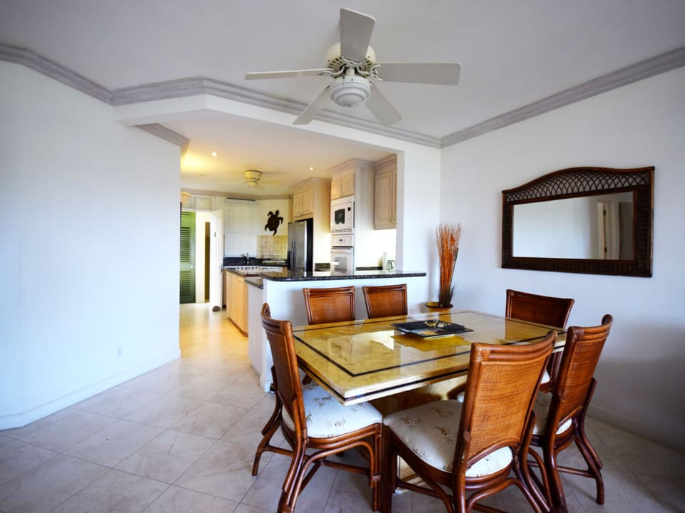 Dining area with open plan Kitchen