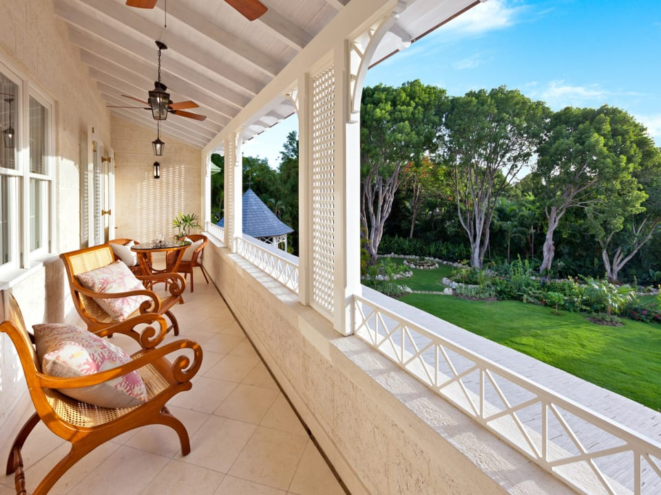 First floor balcony with wonderful garden and pool views