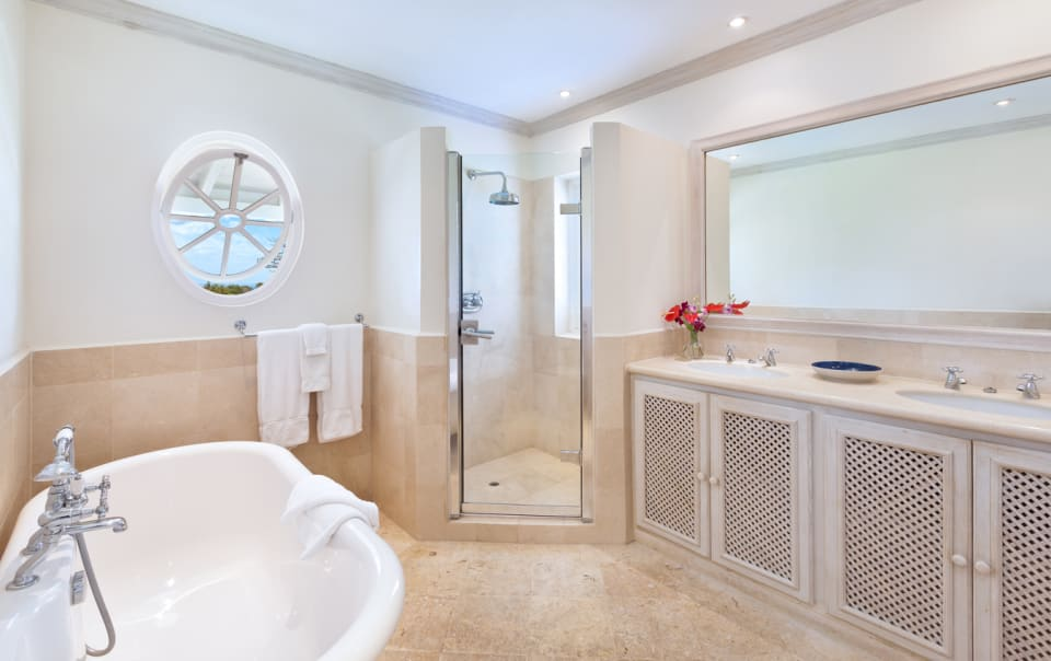 Master bathroom with separate tub and shower
