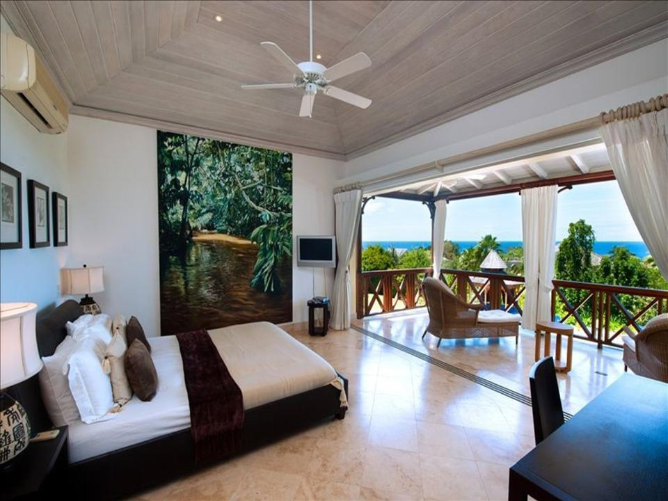 Expansive master suite and balcony