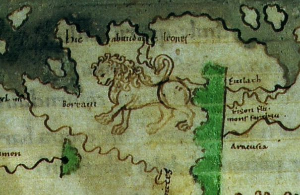 From the Cotton World Map - Hic Abundant Leones